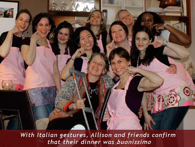 With Italian gestures, Allison and friends confirm that their dinner was buonissimo