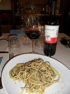 Pasta al tartufo and a great <em>vino rosso locale</em>