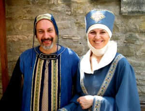 Medieval lord and lady in blue