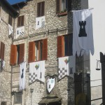 Mezule-terziere-with-black,-white-flags-of-this-district