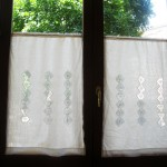 Lacework curtains by Fernanda in the windows of Oso Risotrante