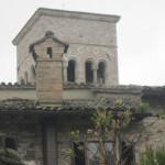 Chimney beauty backed by 13th c- belltower