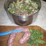 Our stuffing is seasoned with onions,bread,Umbrian, sausagess, sage,pancetta and ciasucolo
