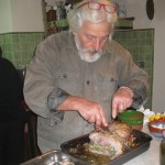 Pino slices up the beautifully-roasted turkey