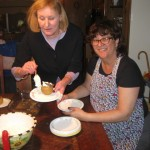 Anne and Marilyn serve up the amaretti-stuffed baked apples