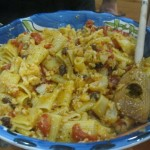 Cauliflower pasta sauce  with pinenuts, currants