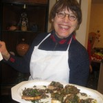 Brenda serves our funghi bruschetta