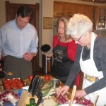 Donna checks out the cooking skills of her guests!