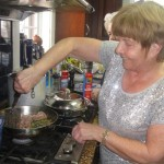 Janet handles the saltimbocca dish
