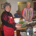 Judie and Linda connect while slicing and dicing