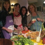 Judy, Heidi, Gina and Kim cooking up a feast