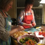 Kim and Diane handle the bruschetta