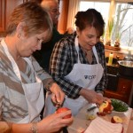 Mary and Bev work on our baked apple dessert