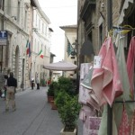 Montefalco street, lined with textiles