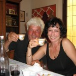 Paolo and a new friend, sharing espresso