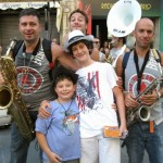 Funk Off musicians with young fans..all the way from Milano