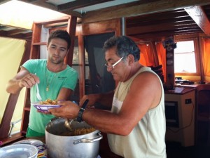 Sergio and Pietro serve up pasta with swordfish and eggplant, pinenuts, baby tomatoes