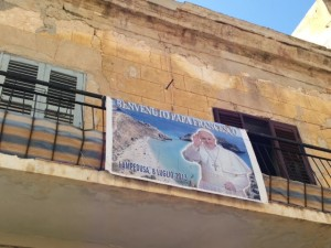 A welcoming banner on Lampedusa for the July Papal visit